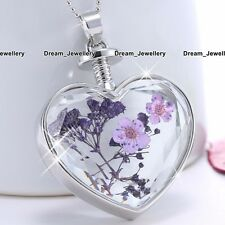 Silver Heart Purple Flowers Women Necklace Fashion Jewelry Birthday Xmas Gift 3T
