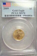 2009 1/10  OZ  $5.00  AMERICAN GOLD EAGLE PCGS MS70 SER 15044815 FIRST STRIKE