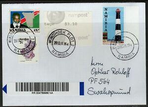 Namibia Cover - Windhoek Pldt 2 - 15.11.2013 - Automatenmarke Leuchturm Fluorite
