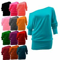 New Ladies Womens OFF The Shoulder Shirt Long Sleeves Loose Batwing TOP Hot 8-26
