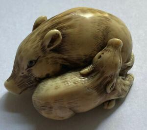 Netsuke Japan - Wildschweinpaar - Beinarbeit - hochwertige, alte Arbeit