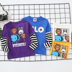 2022 New Kids Boy Girl Animal Zoo Long Sleeve Shirt Tops Tee T-shirt