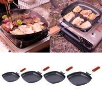 Iron Steak Frying Pan Folding Portable Square Grill Pan