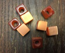 Vintage Old Czech Orange Chunky Fiber Optic Square Cube Big Hole Glass Bead Lot
