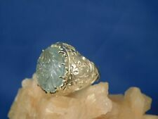 Custom 11.32 ct.Floral Carved Aquamarine Ring Fancy Engraved Sterling Silver
