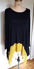 Lagenlook black & mustard hem insert long oversized Orange tunic top shirt M