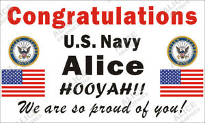 """28"""" X 46"""" Personalized Congratulations US Navy Boot Camp Graduation Banner Sign"""