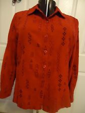 Sag Harbor red poly suede top, buttons, black stitching trim, 14