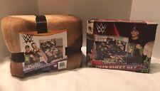 "WWE Twin Bed Sheet Set Plush Blanket 72"" x 90"" Bedding John Cena Randy Orton"