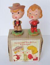 Vintage Cowboy Cowgirl Kiss Me Magnet Bobbleheads Nodders Japan in Original Box