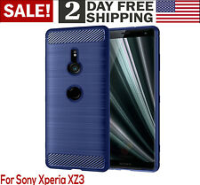Sony Xperia XZ3 Case Frosted Shield Luxury Slim Bumper Cover Carbon Fiber Blue