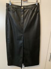 Weekday Black Faux Leather Midi Pencil Skirt 40 New