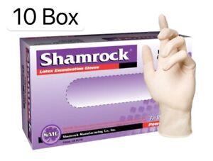 Shamrock Medical Exam Latex Disposable Gloves Powder Free 10 box of 1000 gloves
