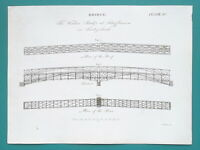 BRIDGES Wooden Truss at Schaffhausen Rhine River - c1815 Antique Print