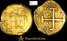 COLOMBIA 1690 DATED 4 DIG 2 ESCUDOS NGC 53 1715 FLEET ERA GOLD COB DOUBLOON COIN