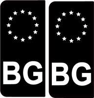 2X Sticker BG NOIR BLANC GAUCHE autocollant style AUTO immatriculation BULGARIE
