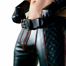 Men's Real Cowhide Leather Pants Jeans Trousers Padded Red Stripes