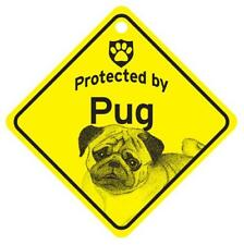 Protected by Pug Dog Window Sign Made in USA