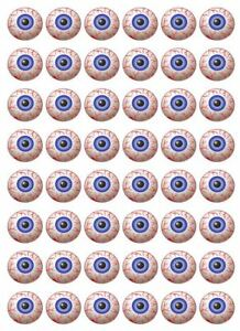 48 x 3cm Blootshot Eyeball Halloween Cup Cake Toppers Edible Rice Wafer Paper