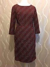 Boden Smart Pencil Comfy Black Maroon Spotted Dress Sz 8P ,  (B