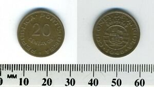 Angola 1948 - 20 Centavos Bronze Coin - Five crowns above arms