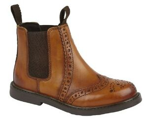 ROAMERS Kids Leather Twin Gusset Brouge Style Fashion Ankle Boots