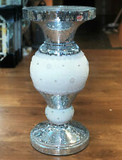 Silver Pearl Mirrored Table Modern Flower Stand Bed Side Lamp Romany Mosaic