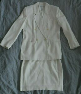 Vintage Evan-Picone Women's Size 10 White Neutral Jacket/Skirt Suit Rayon Blend