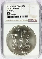 1974 Canada Montreal Olympics Cycling Silver $10 Coin - NGC MS 66 - KM# 95