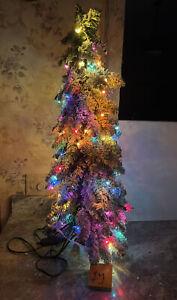 Bethlehem Lights 3' Slim Flocked Downswept Decorator Multicolor Christmas Tree