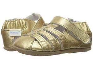 NIB Robeez Shoes Mini Shoez Paris Gold Fisherman Sandals 3-6m 2