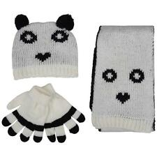 MINX GIRLS KIDS PANDA HAT SCARF GLOVES CREAM KNITTED WINTER GIFT SET 3-12 YEARS