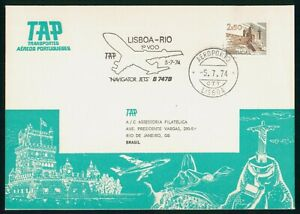 MayfairStamps TAP 1974 Portugal First Flight Cover Lisbon to Rio de Janeiro Braz