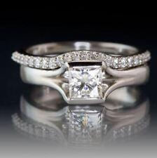 Engagement Ring Set 14k White Gold 2.50Ct Princess Cut Moissanite Bridal Band