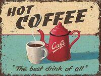 METAL VINTAGE RETRO HOT COFFEE TIN SIGN WALL PLAQUE / FRIDGE MAGNET