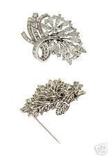 Estate Platinum Ladies Fancy 12ct Diamond Pin Brooch