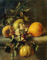 No framed Oil painting beautiful still life fruits Quinces on a Ledge canvas art