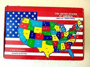 General Box Company Vtg Cardboard Pencil Box USA & Territories Map Made in USA