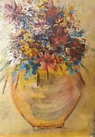 Vintage post impressionist oil painting still life with flowers