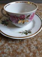Vintage USSR RPR PFF Riga porcelain tea pair cup saucer plate roses