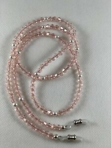 "PINK PETALS 27"" Swarovski Pearls & Crystals Beaded Eyeglass Chain~Holder  USA"