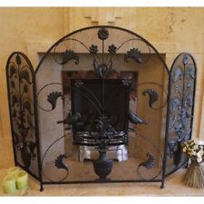 Arched Fire Screen Black Wrought Iron Fireguard Ornate Folding Mesh 3 Panels New