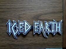 ICED EARTH,IRON ON WHITE WITH WHITE EDGE EMBROIDERED PATCH