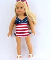 "Adorable Red, White & Blue Swimsuit Fits American Girl Dolls -18"" Dolls"