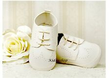 BABY BOYS CREAM FAUX LEATHER PRAM SHOES CHRISTENING WEDDING SMART FORMAL PARTY