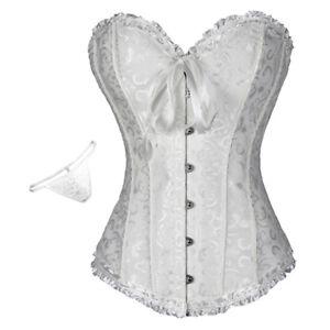 Details about  /Women Corset Overbust White Floral Lace Up Boned Waist Bustier Top Shaper Korset