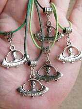 """5 Pieces ALIEN Necklaces UFO ROSWELL Space Ship Charm """"I WANT TO BELIEVE"""" 17-19"""""""