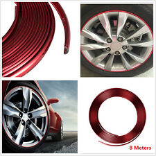 Red Glossy PVC Car Wheel Hub Rim Edge Protector Ring Tire Guard Line Sticker 8M