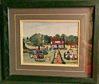 "Ruth Russell Williams Framed & Matted Print ""The Family Reunion"" 1992 Folk Art"