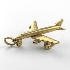 14k Yellow Gold Commercial Jetplane Airliner Airplane Pendant w/ Ring - Stamped